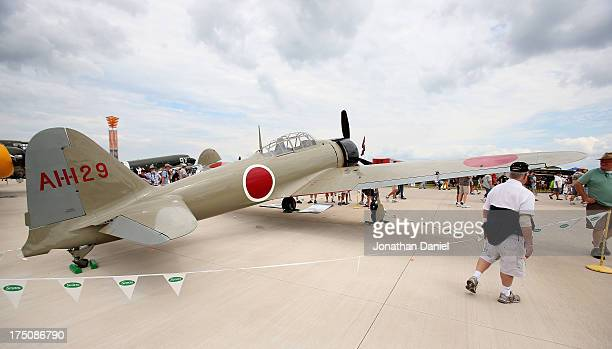 Japanese Zero fighter plane one of only 5 flyable in the world sits on display at the Experimental Aircraft Association AirVenture 2013 at Wittman...