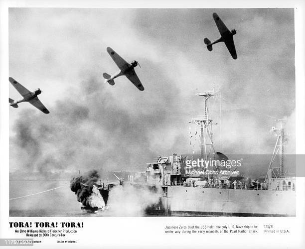 Japanese Zeros blast the USS Helm in a scene from the film 'Tora Tora Tora' 1970