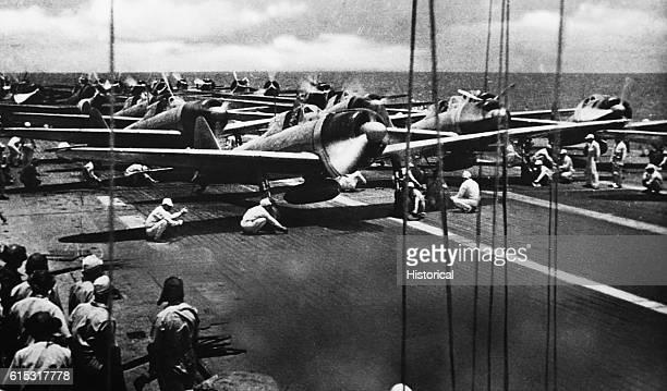 Japanese Zeros on the flight deck of the HJMS Shokaku Japanese aircraft carrier just before the Battle of Santa Cruz
