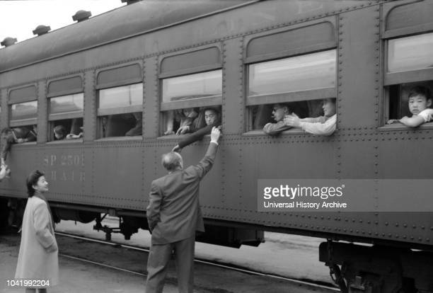 JapaneseAmericans on Train to Owens Valley During Evacuation of JapaneseAmericans from West Coast Areas under US Army War Emergency Order Los Angeles...