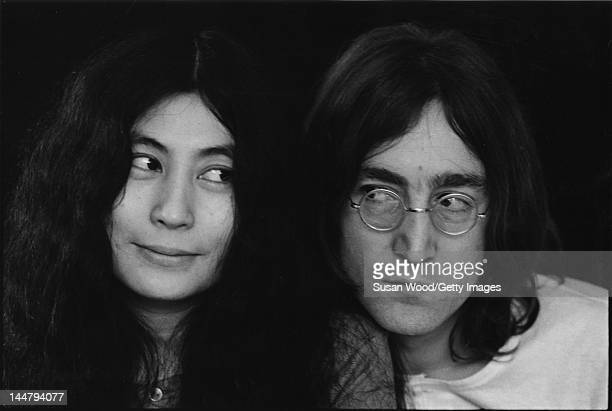 Closeup portrait of Japaneseborn artist and musician Yoko Ono and British musican and artist John Lennon December 1968