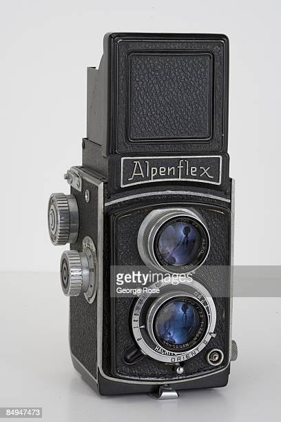 Japanesemade Alpenflex Orient II twin lens reflex film camera with a Hachiyo 75mm f35 lens is seen in this 2009 Healdsburg California studio photo