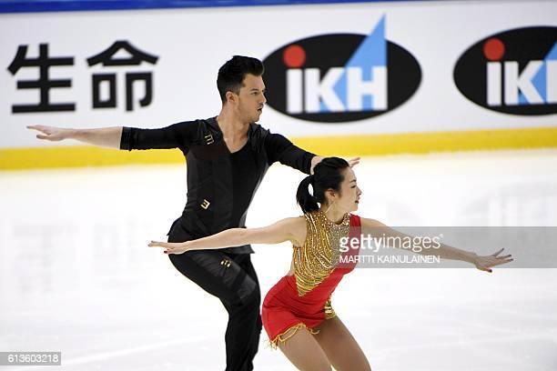 Japanese's figure skater Emi Hirai and Marien de La Asuncion perform in the ice dance free dance during the figure skating Finlandia Trophy...