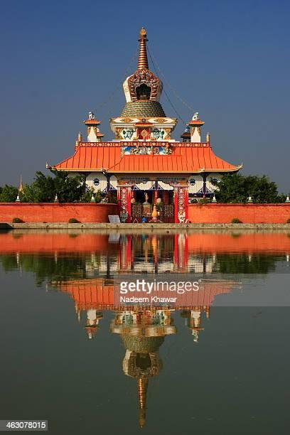 japani's temple at lumbini, nepal. - lumbini nepal stock pictures, royalty-free photos & images