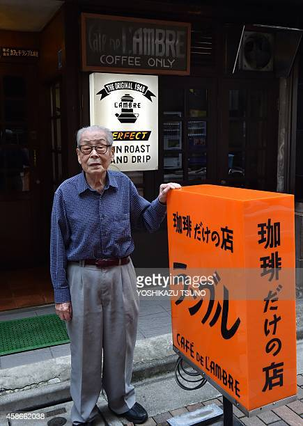 Japan-lifestyle-leisure-coffee,FEATURE BY KATIE FORSTER This picture taken on October 8, 2014 shows a 100-year-old coffe shop owner Ichiro Sekiguchi...