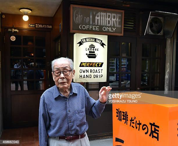 JapanlifestyleleisurecoffeeFEATURE This picture taken on October 8 2014 shows 100yearold coffee shop owner Ichiro Sekiguchi standing in front of his...