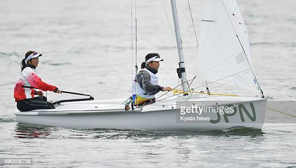 Japan's Ai Yoshida and Miho Yoshioka take part in a race in the women's 470 sailing opening series at the Rio de Janeiro Olympics on Aug 16 2016