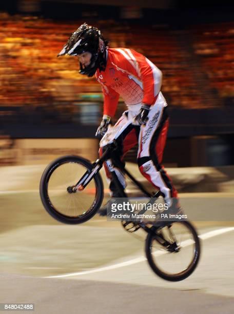 Japan's Akifumi Sakamoto during free practice during the BMX World Championships at the National Indoor Arena Birmingham