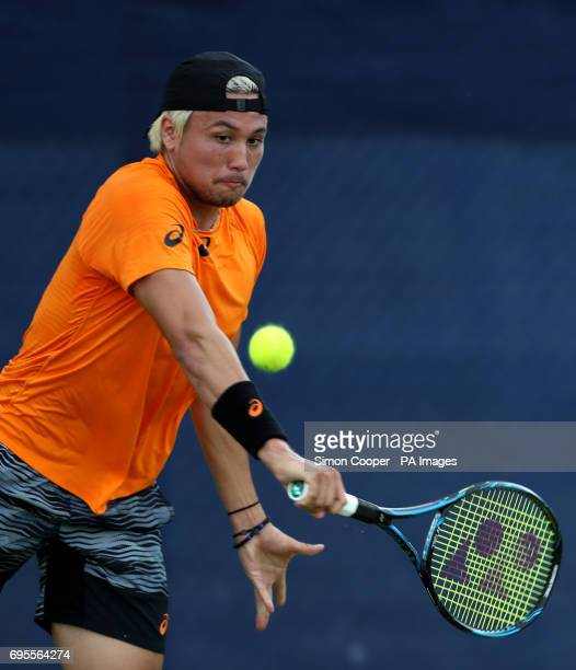 Japan's Akira Santillan during day two of the AEGON Open Nottingham at Nottingham Tennis Centre