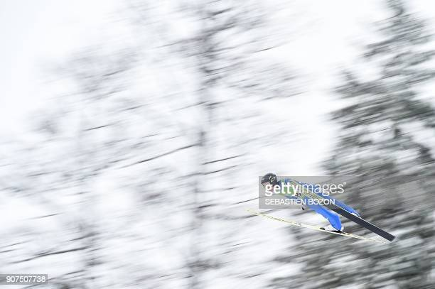 Japan's Akito Watabe competes during the individual Gundersen of the FIS Nordic Combined World Cup on January 20 2018 in ChauxNeuve eastern France /...