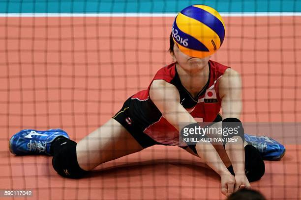 Japan's Arisa Sato in action during the women's quarterfinal volleyball match between Japan and USA at the Maracanazinho stadium in Rio de Janeiro on...