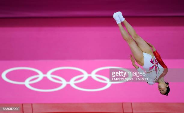Japan's Ayano Kishi competes during the Women's Tramolining at the North Greenwich Arena London