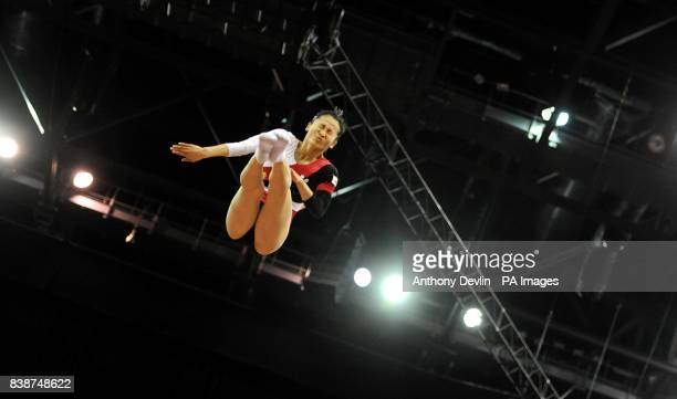 Japan's Ayano Kishi competes on the Trampoline during the Visa Artistic Gymnastics Olympic test event at the Greenwich Arena London