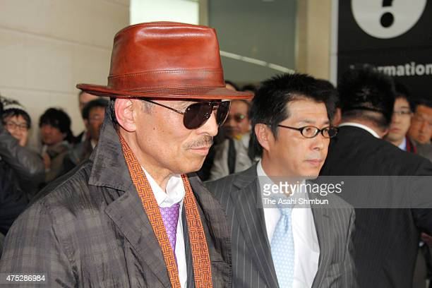 Japan's biggest yakuza syndicate head Kenichi Shinoda, aka Shinobu Tsukasa is seen on arrival at Kobe station after being released from jail as he...