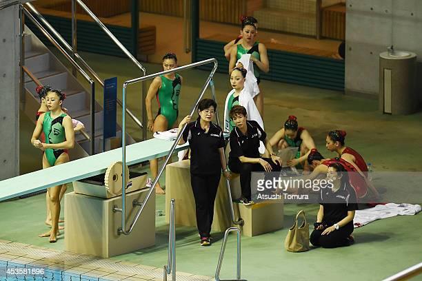 Japan's coaches Masako Kaneko Masayo Imura and Japan team prepares before the Japan Synchro Challenge Cup 2014 at Tatsumi International Pool on...