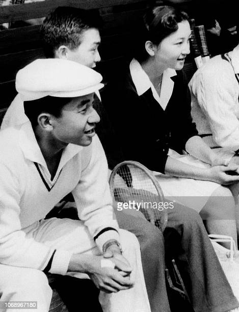 Japan's Crown Prince Akihito and his fiancee Michiko Shda are pictured during a tennis match in 1958