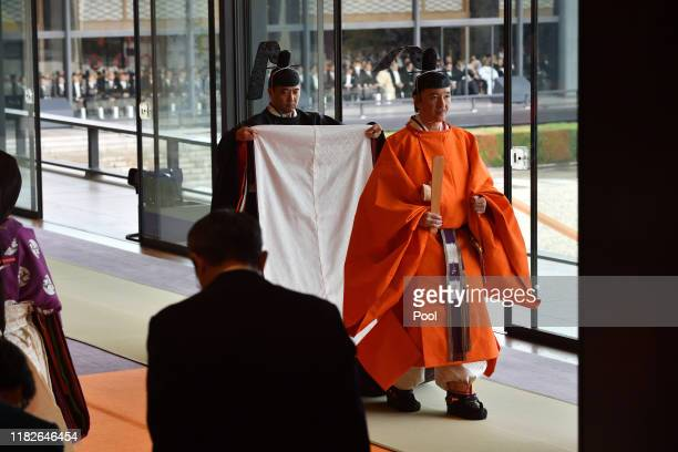 Japan's Crown Prince Akishino leaves at the end of the enthronement ceremony where Emperor Naruhito officially proclaimed his ascension to the...