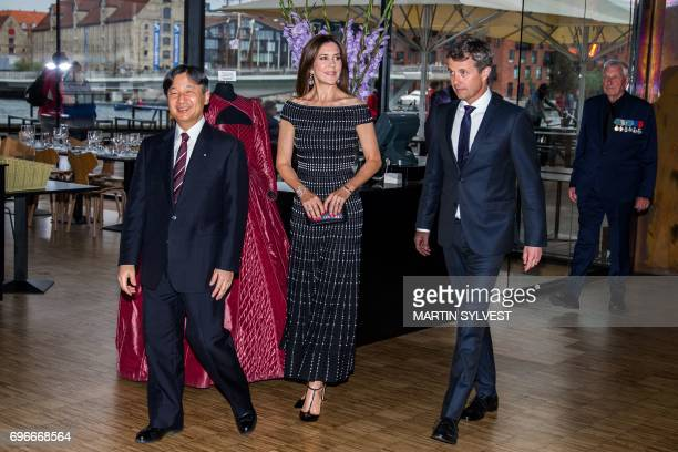 Japan's Crown Prince Nahurito arrives for a concert of traditional Japanese music in The Royal Playhouse with Danish Crown Prince Frederik and Crown...