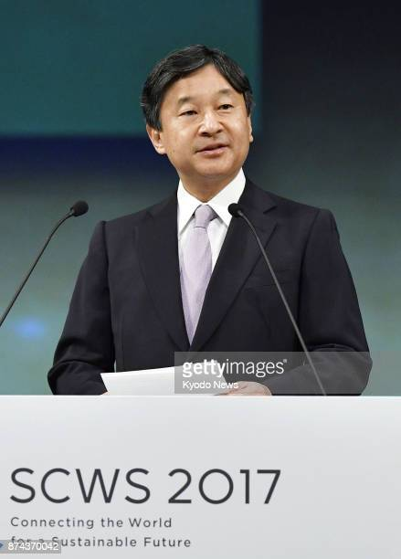 Japan's Crown Prince Naruhito addresses the opening ceremony of the Science Centre World Summit 2017 held at the National Museum of Emerging Science...