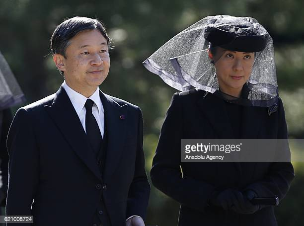 Japan's Crown Prince Naruhito and Crown Princess Masako attend the funeral of late Prince Mikasa uncle of the current Emperor Akihito at the...