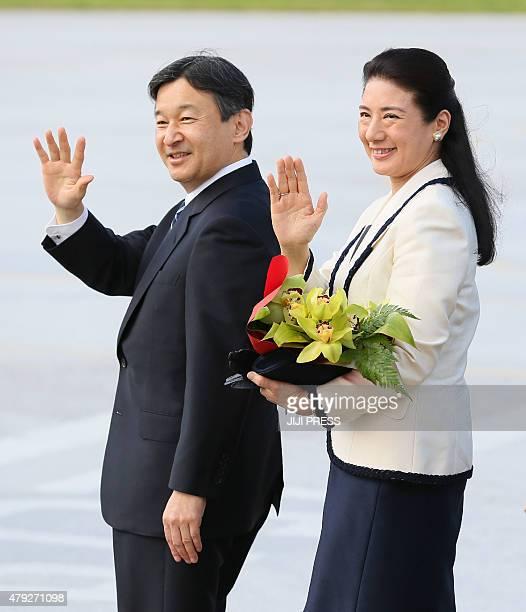 Japan's Crown Prince Naruhito and Crown Princess Masako wave upon their arrival at Nuku'alofa on July 3 2015 Naruhito and Masako arrived in Tonga to...