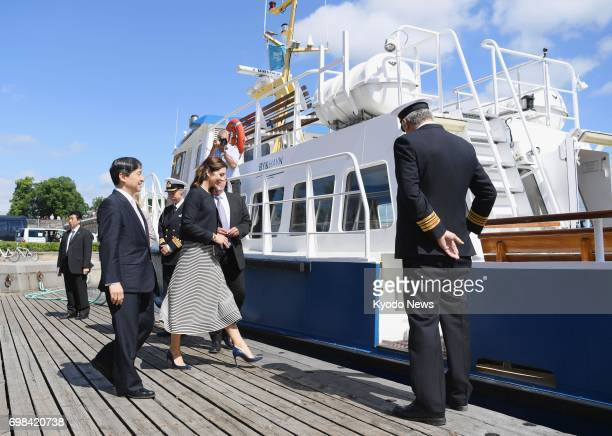 Japan's Crown Prince Naruhito and Denmark's Crown Princess Mary board a boat for a cruise through Copenhagen harbor on June 20 2017 ==Kyodo
