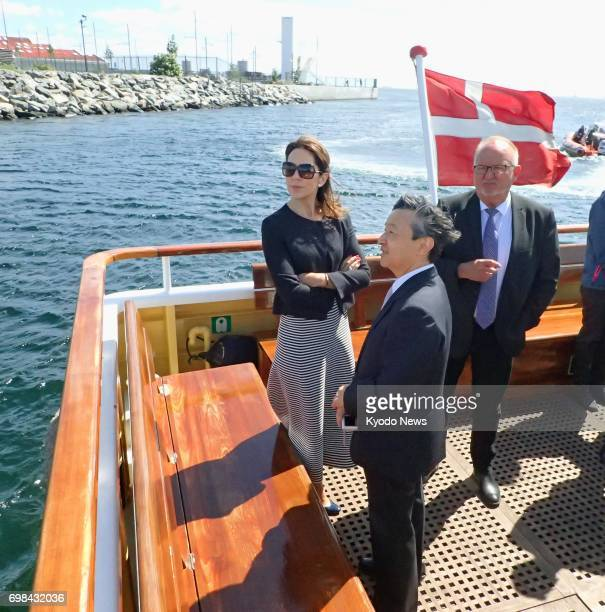 Japan's Crown Prince Naruhito and Denmark's Crown Princess Mary cruise through Copenhagen harbor on June 20 2017 ==Kyodo