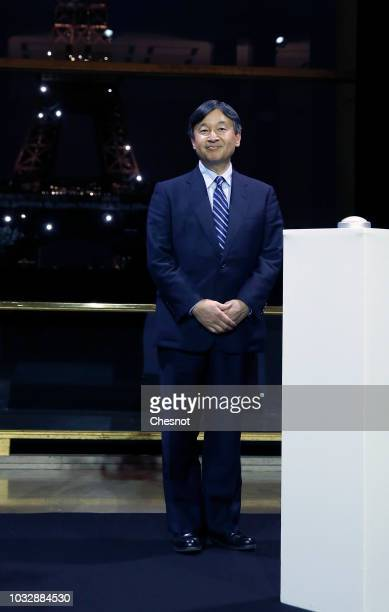 Japan's Crown Prince Naruhito attends a ceremony to launch a light show projected on the eiffel tower honoring the Japan on September 13 2018 in...