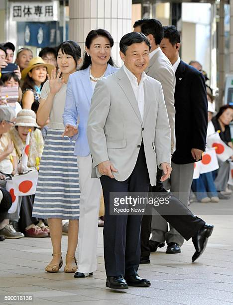 Japan's Crown Prince Naruhito his wife Crown Princess Masako and their daughter Princess Aiko arrive at Izukyu Shimoda Station in Shimoda Shizuoka...