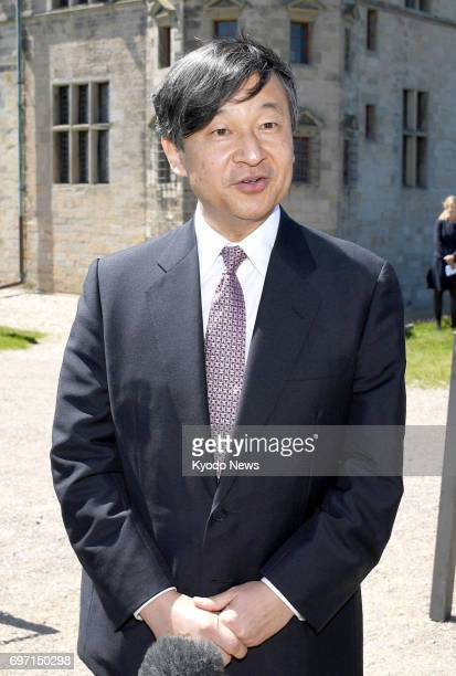 Japan's Crown Prince Naruhito meets reporters near Copenhagen on June 17 after visiting Kronborg Castle a UNESCO World Heritage site in Denmark The...