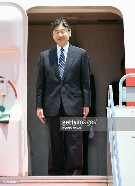 Japan's Crown Prince Naruhito prepares to leave for Denmark from Tokyo's Haneda airport on June 15 to commemorate 150 years of diplomatic ties...
