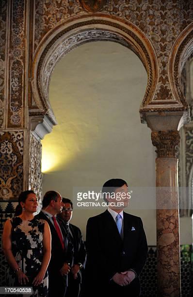 Japan's Crown Prince Naruhito visits Los Reales Alcazares de Sevilla in Sevilla on June 14 2013 Crown Prince Naruhito launched on June 10 a...