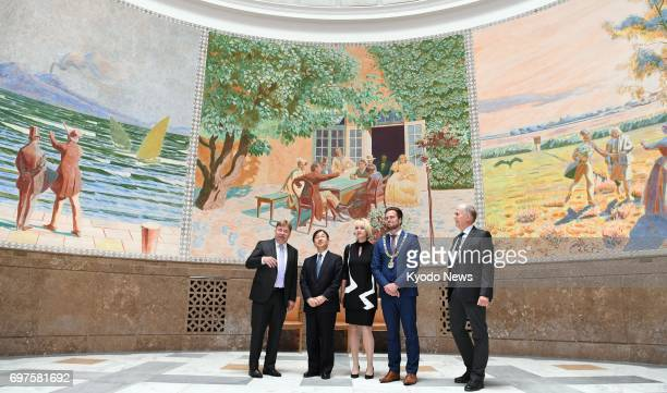 Japan's Crown Prince Naruhito visits the Hans Christian Andersen Museum in Odense Denmark on June 19 2017 The crown prince is visiting Denmark to...