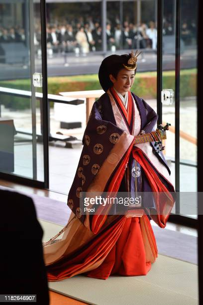 Japan's Crown Princess Kiko leaves at the end of the enthronement ceremony where Emperor Naruhito officially proclaimed his ascension to the...