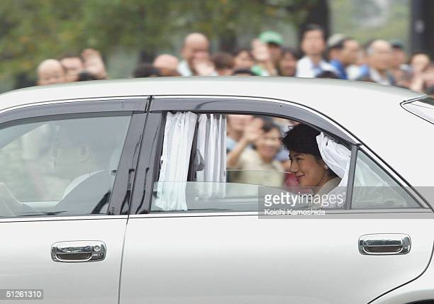 Japan's Crown Princess Masako arrives at the Imperial Palace on September 4 2004 in Tokyo Japan The princess who is recovering from an adjustment...