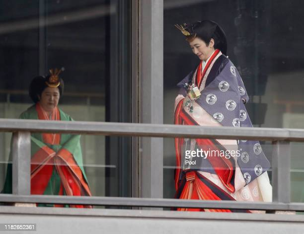 Japan's Crown Princess Princess Kiko arrives for a ceremony to proclaim Emperor Naruhito's enthronement to the world, called Sokuirei-Seiden-no-gi,...