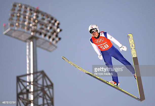 Japan's Daiki Ito competes during the Men's Ski Jumping Normal Hill Individual Official second Training at the RusSki Gorki Jumping Center few hours...
