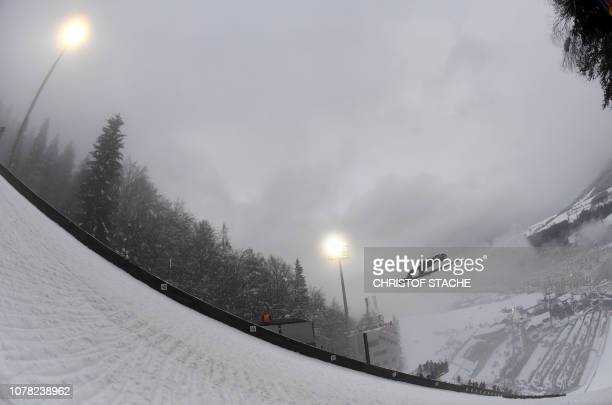 Japan's Daiki Ito soars through the air during his training jump at the fourth stage of the FourHills Ski Jumping tournament in Bischofshofen Austria...