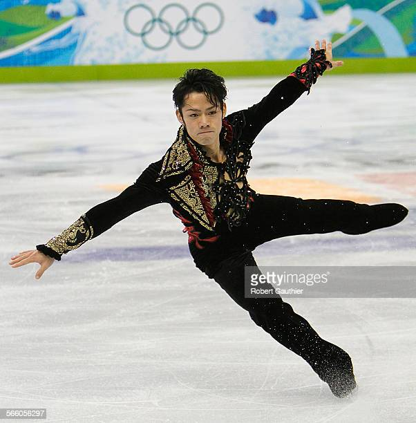 VANCOUVER BC – FEBRUARY 16 2010 – Japan's Daisuke Takahashi lands a spinning maneuver as he competes in the Men's Figure Skating Short Program at...