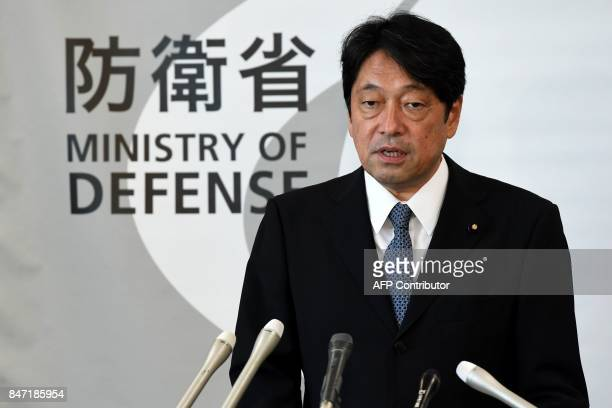TOPSHOT Japan's Defence Minister Itsunori Onodera speaks during his press conference at the Defence Ministry in Tokyo on September 15 2017 North...