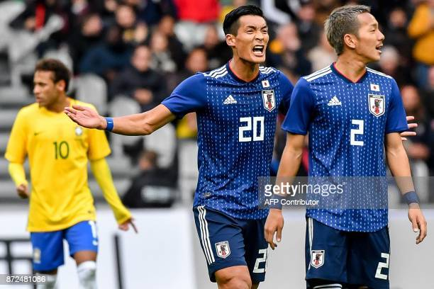 Japan's defender Makino Tomoaki celebrates after scoring a goal during the friendly football match between Japan and Brazil on November 10 2017 at...