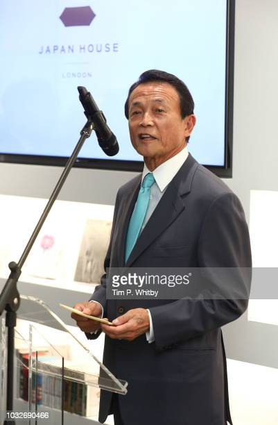 Japan's Deputy Prime minister Taro Aso speaks during The Official Opening of Japan House London, the new Cultural Home of Japan in the UK on...
