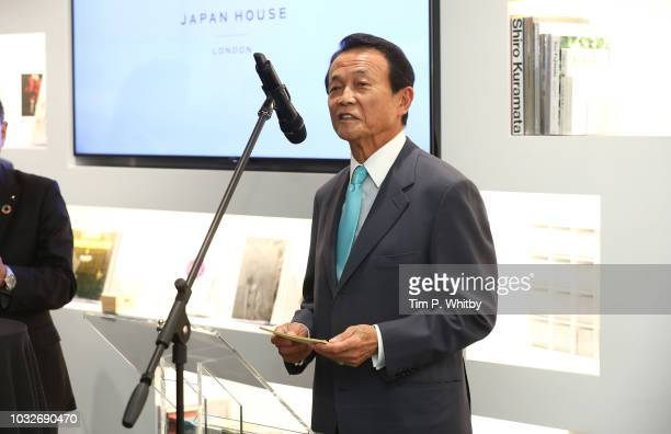 Japan's Deputy Prime minister Taro Aso speaks during The Official Opening of Japan House London the new Cultural Home of Japan in the UK on September...