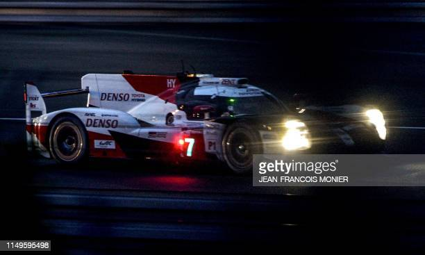 Japan's driver Kamui Kobayashi steers his Toyota TS050 Hybrid LMP1 on June 12 2019 in Le Mans during a free practice session ahead of the 87th...