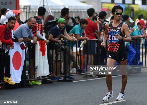 Japan's Eiki Takahashi competes in the men's 20km walk race competition during the 2018 Asian Games in Jakarta on August 29 2018