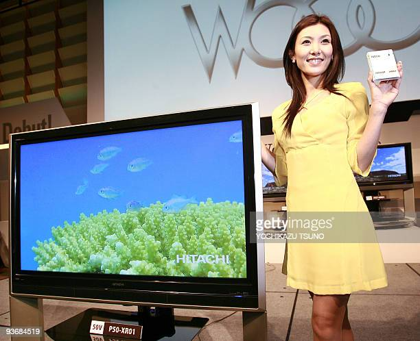 Japan's electronics giant Hitachi unveils the new plasma and LCD TV series 'Wooo' which has the world's first detachable harddisk drive in Tokyo 20...