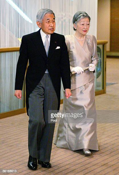 Japan's Emperor Akihito and Empress Michiko at a room for Princess Sayako's wedding ceremony at a Tokyo hotel November 15 2005 in Tokyo Japan...