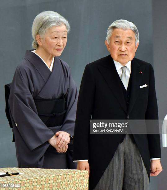 Japan's emperor Akihito and empress Michiko attend the 72th anniversary ceremony of the end of World War II at Tokyo Budokan hall August 15 Japan