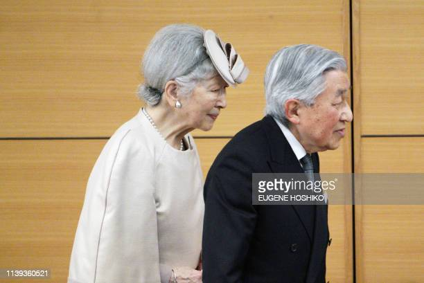 Japan's Emperor Akihito and Empress Michiko attend the awards ceremony of the Midori Academic Prize in Tokyo on April 26 2019