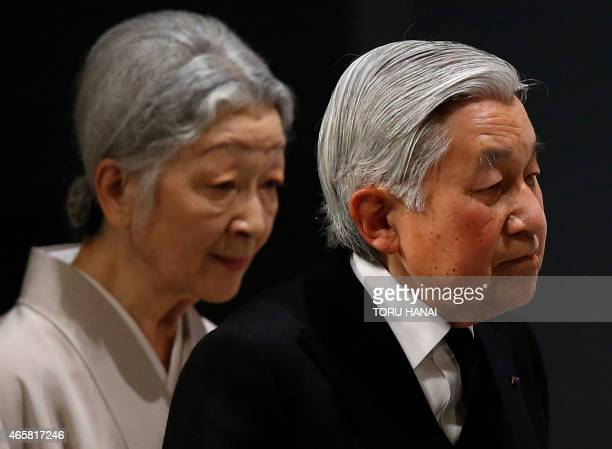 Japan's Emperor Akihito and Empress Michiko attend the national memorial service for the victims of the March 11 2011 earthquake and tsunami in Tokyo...